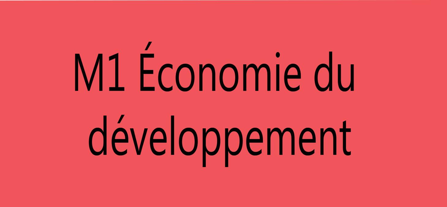 m1 economie developpement