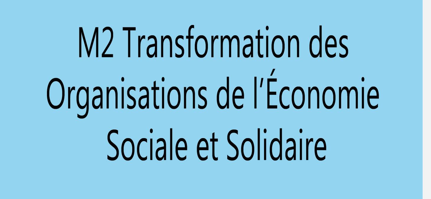 master 2 parcorurs economie sociale et solidaire
